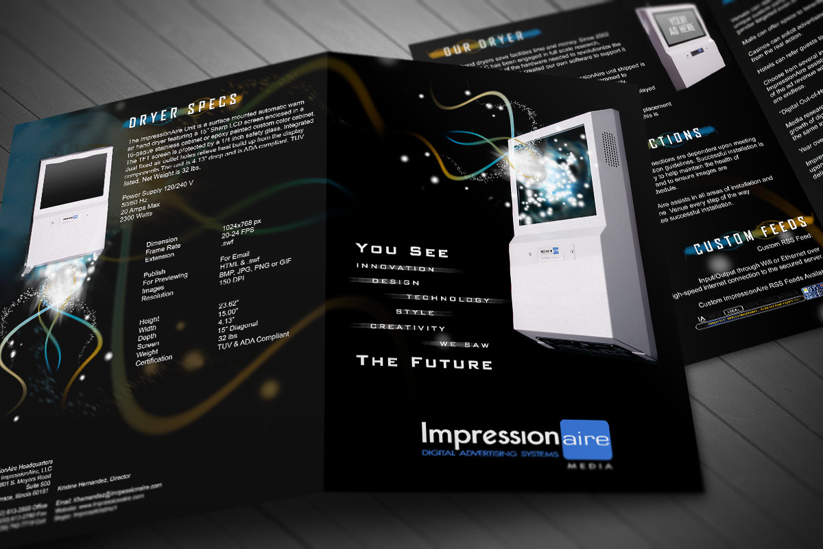 Impression Aire bi-fold brochure cover and inside mock-up