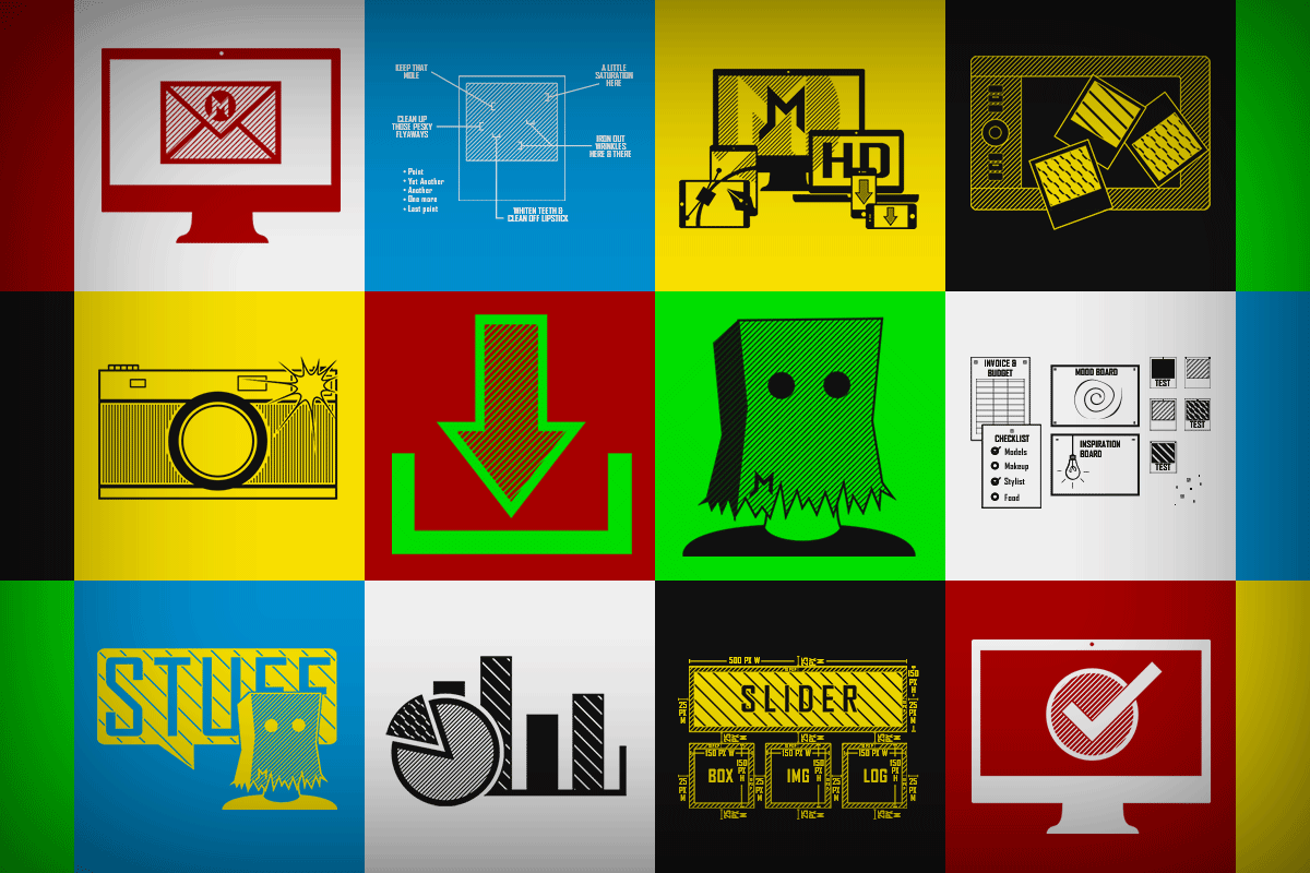 Multiple vector icons created for JonRoyMiller.com responsive website