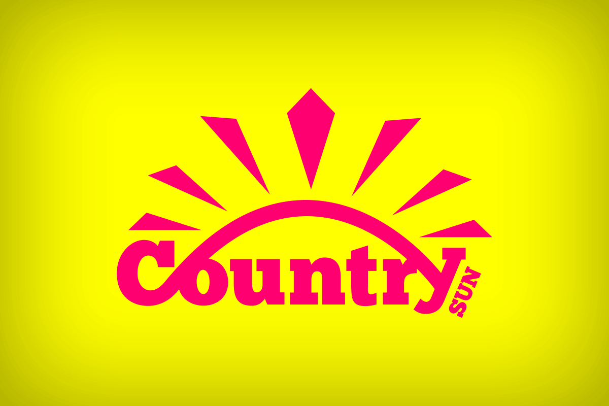 Pink Country Sun logo on yellow background