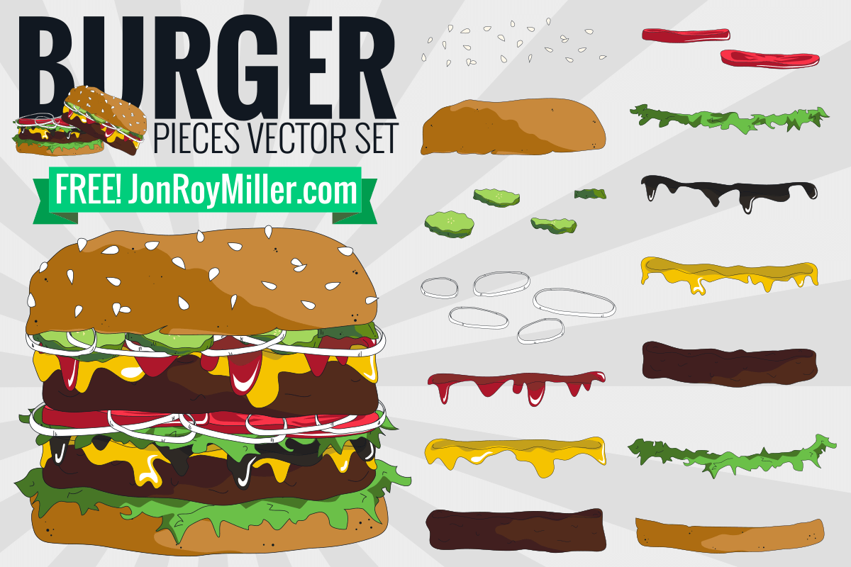 Free burger and ingredients vector set