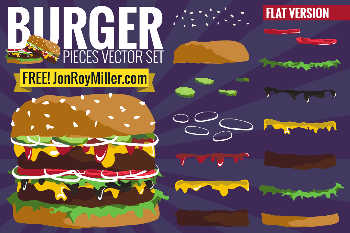 Burger vector set in flat design style