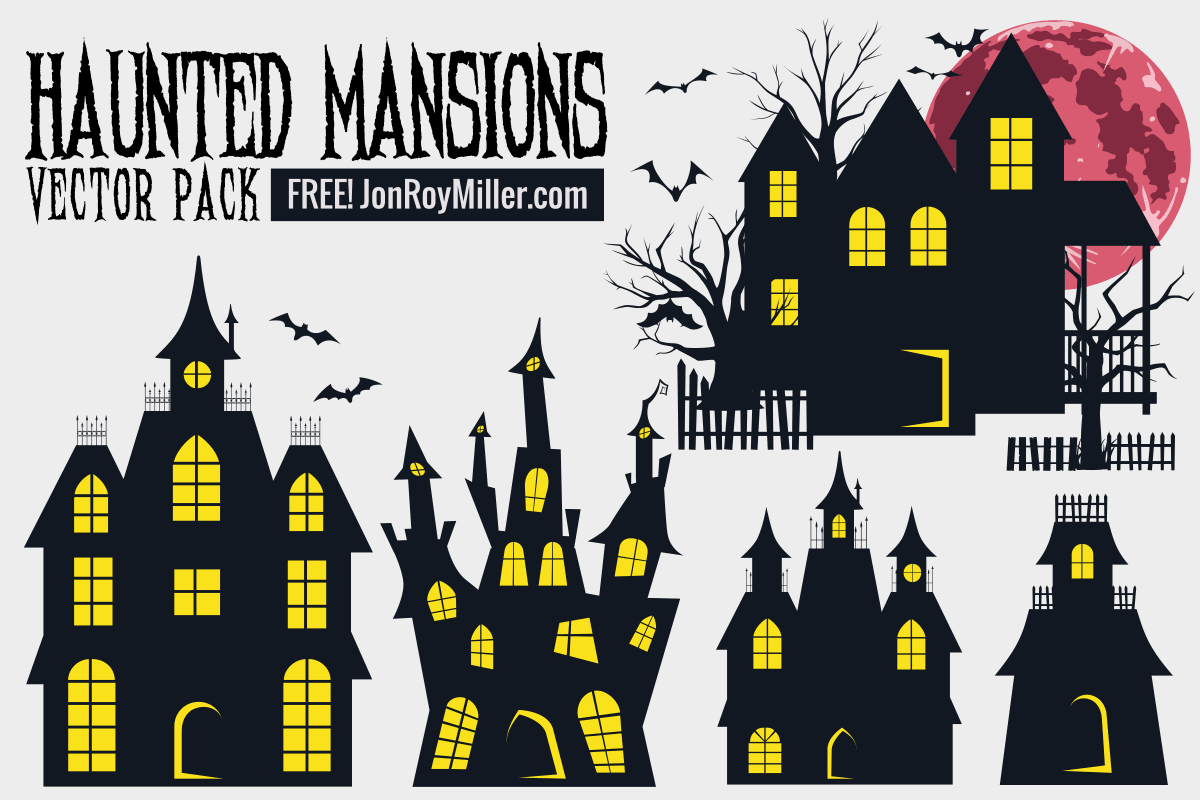 Halloween haunted mansions and bats vector elements